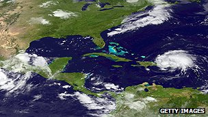 Satellite image of hurricane hitting Puerto Rico