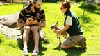 French Rugby player Sebastien Chabal talks with zoo keeper Farley Matthews