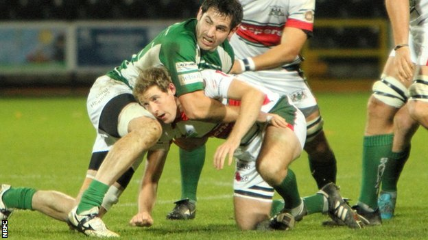 Brent Wilson (left) in action for Nottingham