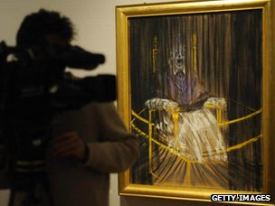 Cameraman with Francis Bacon's painting Study after Velazquez's Portrait of Pope Innocent X