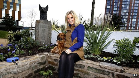 Helen Skelton and Barney in the Blue Peter garden