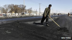 Street cleaner in Kabul