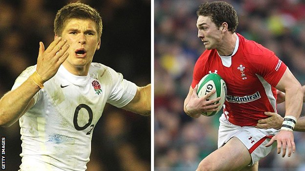 England's Owen Farrell and Wales' George North
