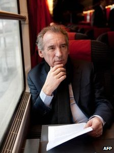 Francois Bayrou on a train to Amiens, 23 February