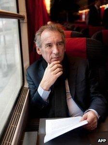 Francois Bayrou on a train to Amiens, 23 February