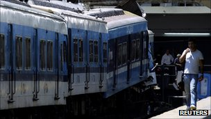 The crashed train in Buenos Aires with crumpled front carriages