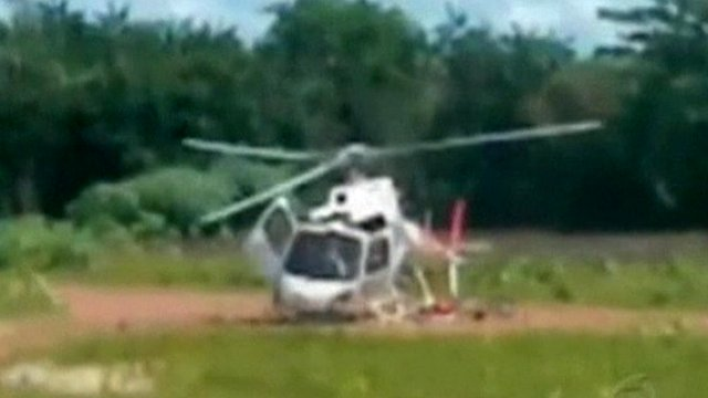 Helicopter breaks up on landing