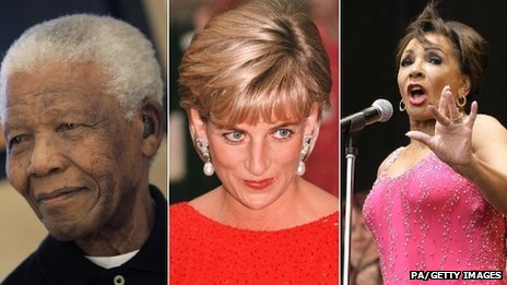 Nelson Mandela, Princess Diana, Dame Shirley Bassey