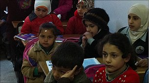 Syrian children in class at a Jordanian school