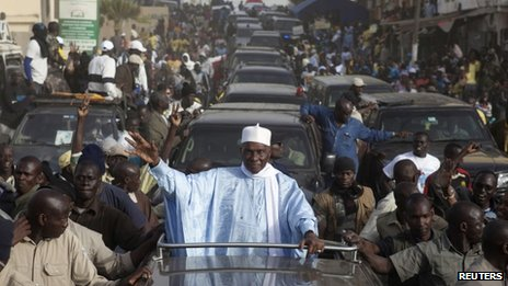 "Senegal""s incumbent President Abdoulaye Wade attends an election campaign rally in the capital Dakar February 22, 2012."