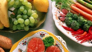 An array of fruit, vegetables and healthy foods.