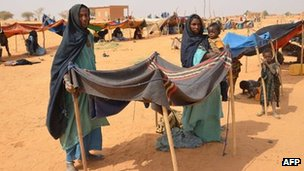 Malian refugees at a camp in Chinegodar, western Niger, close to the Malian border, on 4 February 2012 