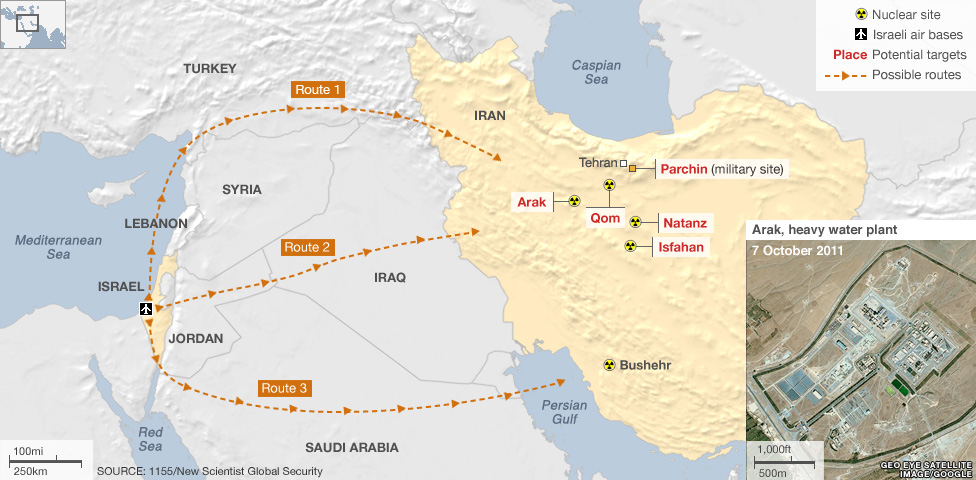 Map showing possible routes Israeli bombers could take to target Iran&#039;s nuclear facilities