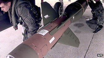US Air Force pilots check GBU-28 bomb