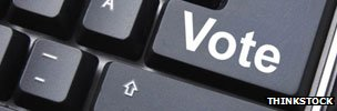 Computer keyboard key bearing the word 'Vote'