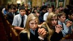 Catholics pray during an Ash Wednesday Mass at the Cathedral of St Matthew the Apostle in Washington, DC, USA.