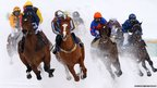 Grand Prix Prestige race at the White Turf horse racing meeting held on the frozen Lake St Moritz, Switzerland.