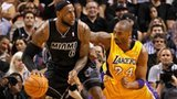 LeBron James & Kobe Bryant in action
