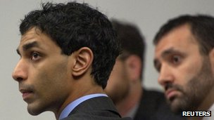 Dharun Ravi on the first day of his trial in New Brunswick, New Jersey 24 February 2012