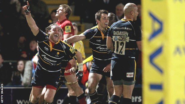 Andy Goode celebrates Worcester's Premiership win over Saracens