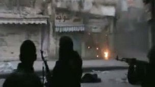 Video footage purported to show clashes in Homs. 24 Feb 2012