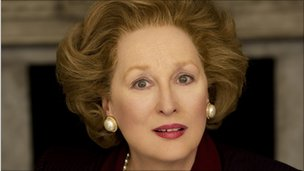 Meryl Streep portrays Margaret Thatcher in The Iron Lady