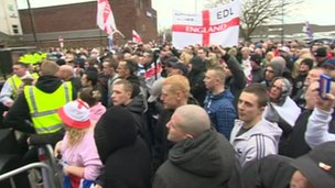 EDL protest in Hyde