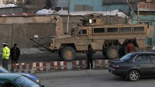 Scene close to Afghan interior ministry, 25 Feb 2012