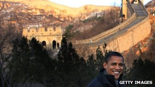 US President Barack Obama tours the Great Wall on 18 November 2009 during his trip to China