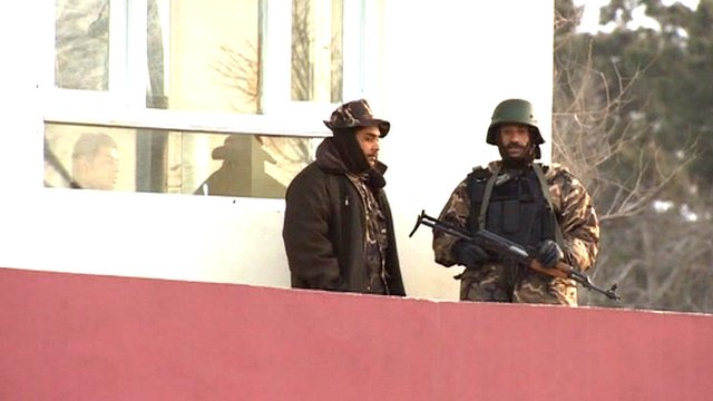 Armed guards at Interior Ministry in Kabul