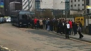 Fans catch a bus to Chester from Lime Street on Sunday morning