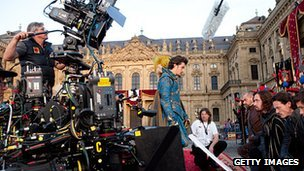Orlando Bloom on the set of The Three Musketeers
