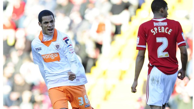 Blackpool's Thomas Ince celebrates his goal