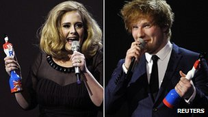 Adele and Ed Sheeran at the Brit Awards