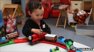 Child playing with train