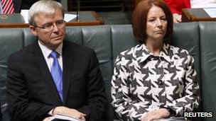 Kevin Rudd sits beside Julia Gillard in the Australian parliament in May 2010, shortly before she deposed him as prime minister