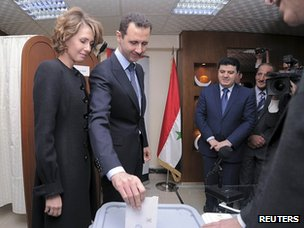 President Assad votes in Damascus