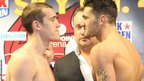Tommy Karpency and Nathan Cleverly go head to head during the weigh in prior to their fight at Cardiff's Motorpoint Arena.