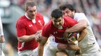 There is no way through on this occasion for Wales scrum-half Mike Phillips