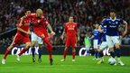 Martin Skrtel of Liverpool scores their first goal during the Carling Cup Final match
