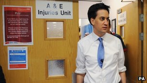 Ed Miliband visiting an A&E department