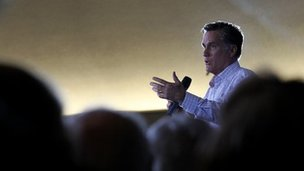 Republican presidential candidate Mitt Romney speaks during a rally at the Park Place Hotel on February 26