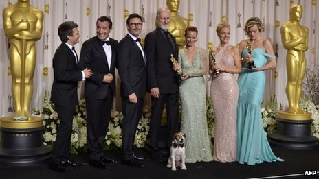 The cast of The Artist at the Academy Awards
