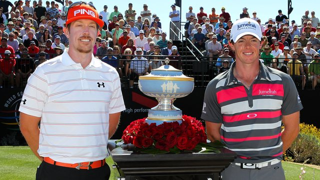 Hunter Mahan and Rory McIlroy at the WGC Match Play final in Arizona. 
