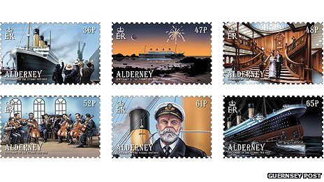 Titanic depicted on Alderney stamps