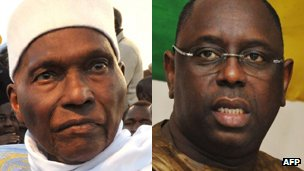 President Abdoulaye Wade (l) and Macky Sall (r)