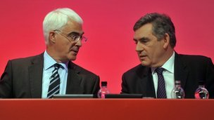 Alistair Darling and Gordon Brown at the Labour Party Conference, September 2009 