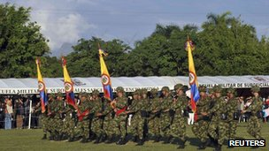 Colombian soldiers march during an official ceremony at Tolemaida army base in this photo taken on 23 December 2011.