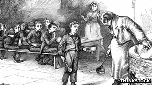 Drawing of a boy in a workhouse 