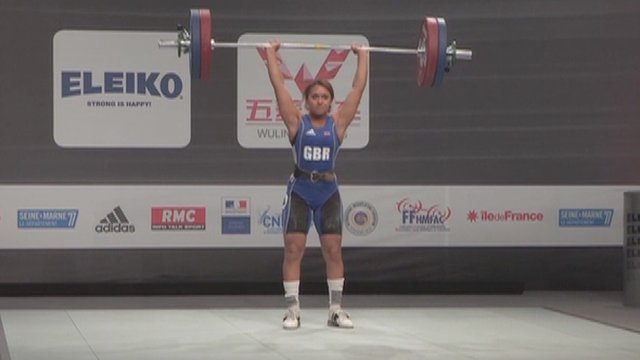 Weightlifter Zoe Smith in action